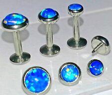 16g 3,4 or 5mm ~ BLUE OPAL~ Tragus Cartilage TRIPLE FORWARD HELIX Ear Bar Stud