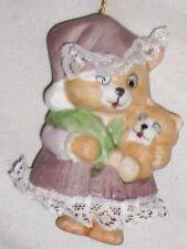 "Ceramic 3"" Brown Mama ""Bear Feet Bell"" w Baby Ornament"