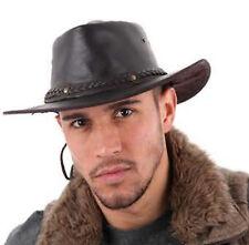 Explorer déformable en cuir véritable aussie/outback/bush chapeau avec menton sangle