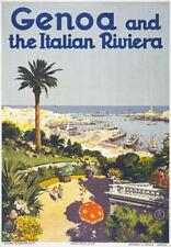 Tv67 Vintage 1930's Génova Italia Riviera Italiana viajar Cartel volver a imprimir A4
