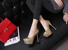 Stiletto Scarpe decolte eleganti donna spillo plateau 13.5 oro strass 8556