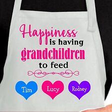 Personalized Happiness Is having Grandchildren Apron.  Custom Grandma Apron