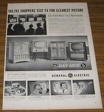 1954 Vintage Ad GE General Electric Black-Daylite TV 4 Television Models