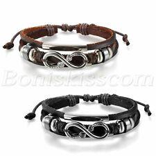 Edelstahl Leder Herren Damen Zirkon Infinity Unendlichkeit Armband Lederarmband