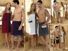 Damen Herren Saunakilt Saunatuch Wellness Stickerei Klettverschluss Sarong NEU