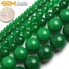 "Green Jade Gemstone Round Loose Spacer Beads For Jewellery Making Strand 15"" UK"