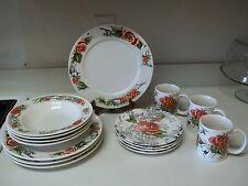 Rose Toile Stoneware ~ 19 piece set ~ Plates Rimmed Soup Bowls Mugs