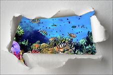 Sticker Trompe l'oeil papier déchiré déco poissons tropicaux réf 372