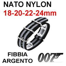 CINTURINO NATO NYLON NERO GRIGIO James Bond 007 Spectre 18mm 20mm 22mm 24mm