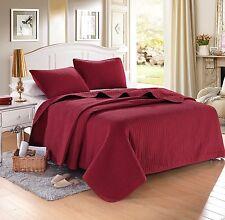 Burgundy Red Solid Color Hypoallergenic Quilt Coverlet Bedspread Twin Queen King