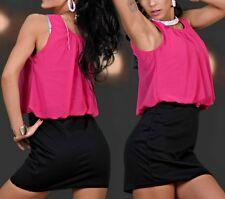 Sexy Miss señora mini vestido chiffon Pump dress S/M 34/36 M/L 36/38 negro rosa