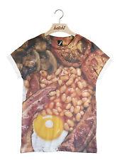 batch1 Inglés Fry Up Todo Estampado Moderno NOVEDAD Fast food Unisex Camiseta