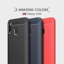 Housse etui coque silicone gel carbone pour Samsung Galaxy A40 + verre trempe