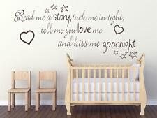 LEGGIMI UNA STORIA, rimboccarmi le coperte strette... Bambini Nursery parete ARTE Citazione Adesivo Decalcomania