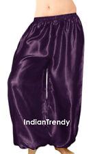 Wine - Satin Harem Yoga Pant Belly Dance Costume Tribal Pantalons Trouser Boho