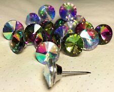 10er Pack 20mm, 25mm, 30mm Strasssteine Polsternägel Glas Regenbogen Crystal AB
