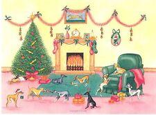 Whippet Greyhound Chien Noël aquarelle / encre peinture.