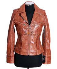 Rachel Tan Waxed Ladies Women's Smart Retro Vintage Real Sheep Leather Jacket