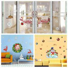 Noël santa neige scène setter mur fenêtre pendaison décoration kit fête Neuf