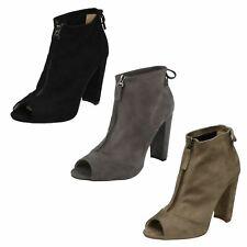 Ladies Spot On Peep Toe Ankle 'Boots'