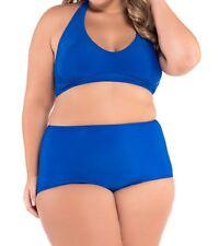 Solid Blue Plus Size Halter Bikini Swimsuit - Size UK 22-24, 24-26