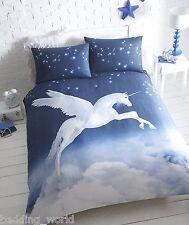 Impresión de unicornio azul y blanca, cubierta del edredón edredón Conjuntos de Cama-Individual, Doble, King