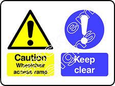 Attenzione per sedia a rotelle Rampa di accesso dda0014 disabilitato adesivi e insegne