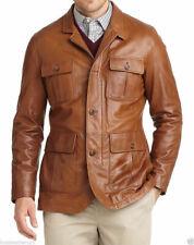 Fashion New Men's Genuine Leather Sheepskin Slim Fit Blazers Suit Jackets LT058