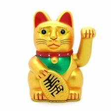 Winkekatze 15 cm Feng Shui Talisman Glücksbringer Glückskatze gold weiß schwarz