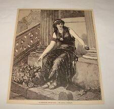 1887 magazine engraving ~ A POMPEIAN FRUIT-GIRL, Diana Coomans