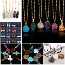 Quartz Healing Crystal Pendant Natural Stone Gem Necklace For Women Men Jewelry