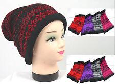 Damen Strick Schal Mütze schwarz Norweger Motiv  5 Farben feine Strick Art neu N