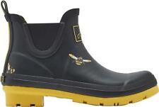 Joules WELLIBOB Ladies Rain Waterproof Rubber Ankle Wellies Black Metallic Bees