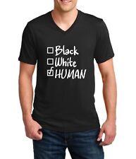 Mens V-neck Black White Human Tee Shirt Civil Rights Activity T-Shirt Activity