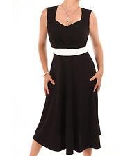 New Black and Ivory A Line Dress - Knee Length