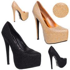 Da Donna con Plateau Tacco Alto A Stiletto Da Sera Matrimonio Strass Shoes