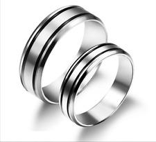 Hot Titanium Steel Simple design Black Simple Two Lines Love Couple Rings 1 pair