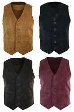 Mens Waistcoat Gilet Real Genuine Suede Leather Retro Vintage Western Vest