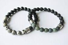 Edelstein Armband Onyx Dalmation Moos Achat Dalmatiner Perlen Naturstein Buddha
