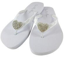 Heart Rhinestone Flip Flops Bride Wedding Sandals Flat White bridal Satin