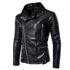 Hot Men's PU Leather Jacket Zipper Black Slim Fit Biker Motorcycle Jackets Coats