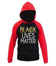 Men's Shiny Gold Black Lives Matter Black Red Raglan Hoodie Protest Equality BLM
