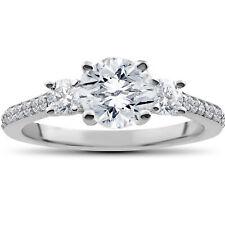 1 1/4 ct Round Diamond 3-Stone Lab Grown Eco Friendly Engagement Ring White Gold