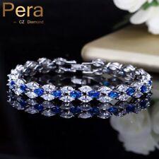 Silver Xmas Gifts For Her Mum Women Royal Tennis Bracelets Big Blue Cubic Zircon