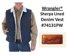 NWT MENS Wrangler® Sherpa Lined Denim Vest Prewashed(#74131PW) All Sizes(S~2XL)