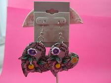 Heart Flower Dangle Earrings