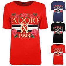 Womens Ladies Celebrity Inspired Cap Sleeve J'Adore 1998 Printed T Shirt Tee Top
