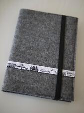 Tütatü Copertina Libro con Taccuino, Diario Viaggio, Feltro-Lana, Grau, Skyline