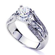 Women 14K White Gold 2 ct CZ Princess CZ Channel Setting Wedding Engagement Ring