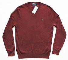 Mens Polo Ralph Lauren Pima Cotton Sweater Jumper V Neck Wine S M L RRP £110